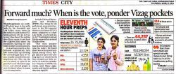 Forward much? When is the vote, ponder Vizag pockets